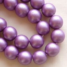8mm Round Czech Glass Beads Purple Satin - 25